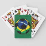 """Brazilian Flag Football Playing Cards<br><div class=""""desc"""">A football decorated with the Brazilian flag.</div>"""