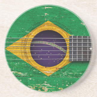 Brazilian Flag on Old Acoustic Guitar Drink Coasters