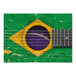 Brazilian Flag on Old Acoustic Guitar Card