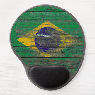 Brazilian Flag on Rough Wood Boards Effect Gel Mouse Pad
