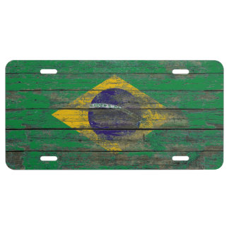 Brazilian Flag on Rough Wood Boards Effect License Plate