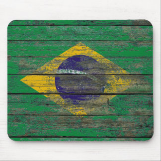 Brazilian Flag on Rough Wood Boards Effect Mouse Pad