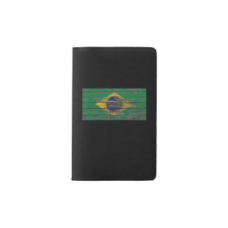 Brazilian Flag on Rough Wood Boards Effect Pocket Moleskine Notebook