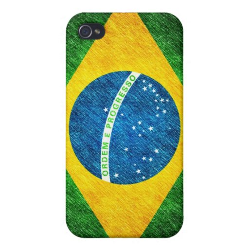 Brazilian_Flag_Pencil_Painting Case For iPhone 4