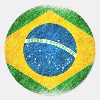 Brazilian_Flag_Pencil_Painting Classic Round Sticker