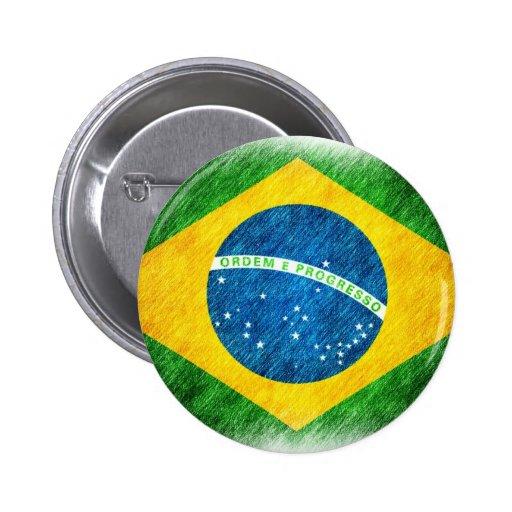Brazilian_Flag_Pencil_Painting Pin Redondo De 2 Pulgadas