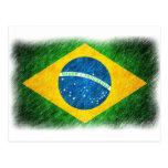 Brazilian_Flag_Pencil_Painting Tarjeta Postal