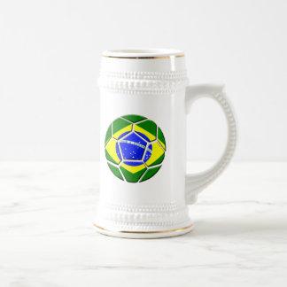 Brazilian flag Samba futebol soccer ball gifts Beer Stein
