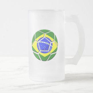 Brazilian flag Samba futebol soccer ball gifts Frosted Glass Beer Mug