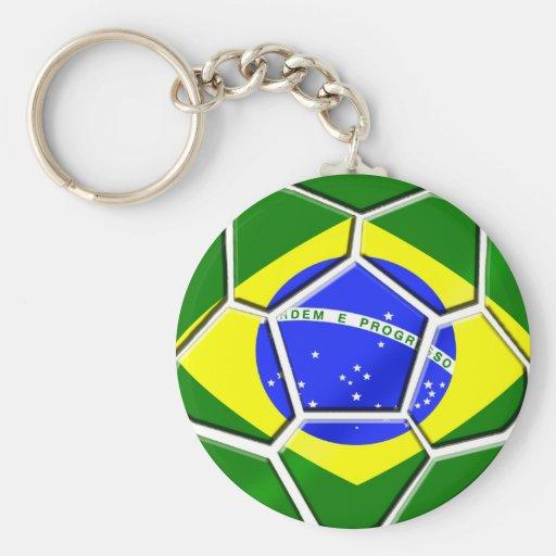 Brazilian flag Samba futebol soccer ball gifts Basic Round Button Keychain