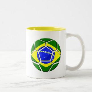Brazilian flag Samba futebol soccer ball gifts Two-Tone Coffee Mug