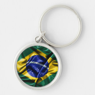 Brazilian Flag Silver-Colored Round Keychain
