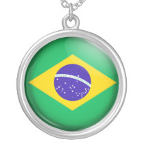 Brazilian  flag silver plated necklace