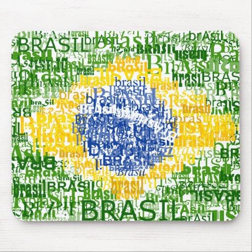 Brazilian Flag - Textual Brasil Mouse Pads