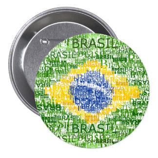 Brazilian Flag - Textual Brasil Pinback Button