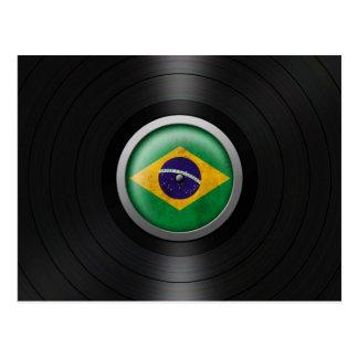 Brazilian Flag Vinyl Record Album Graphic Postcard
