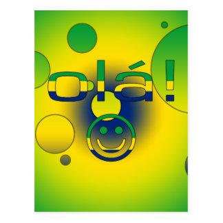 Brazilian Gifts : Hello / Ola + Smiley Face Postcard