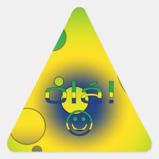 Brazilian Gifts : Hello / Ola + Smiley Face Triangle Stickers