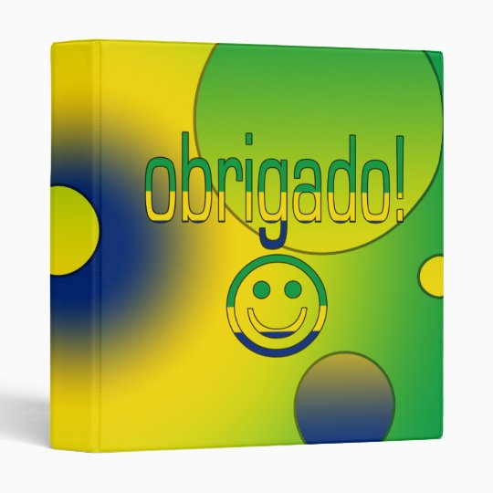 Brazilian Gifts Thank You / Obrigado + Smiley Face 3 Ring Binder