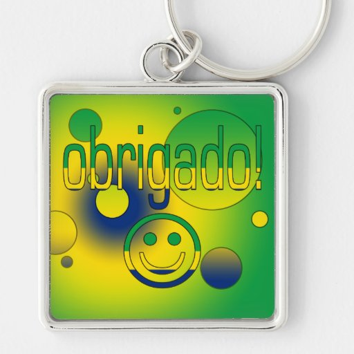 Brazilian Gifts Thank You / Obrigado + Smiley Face Key Chains