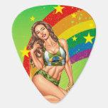 Brazilian Girl wearing the Brazil Flag w/ Rainbow Guitar Pick
