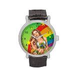 Brazilian Girl wearing the Brazil Flag w/ Rainbow Wrist Watch