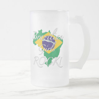 Brazilian Girls Rock! Frosted Glass Beer Mug