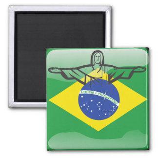 Brazilian glossy flag magnet
