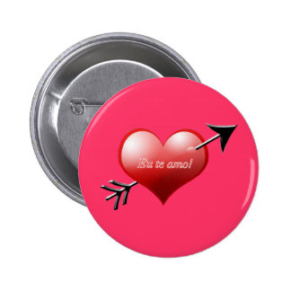 Brazilian Heart and Arrow 2 Inch Round Button