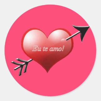 Brazilian Heart and Arrow Classic Round Sticker