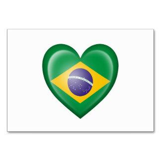 Brazilian Heart Flag on White Card