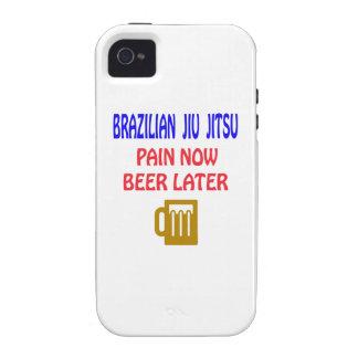Brazilian Jiu Jitsu pain now beer later Case-Mate iPhone 4 Cases