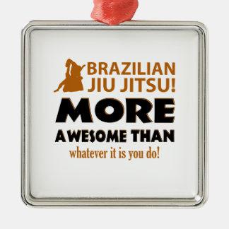 Brazilian Jiu Jutsu Martial arts gift items Square Metal Christmas Ornament