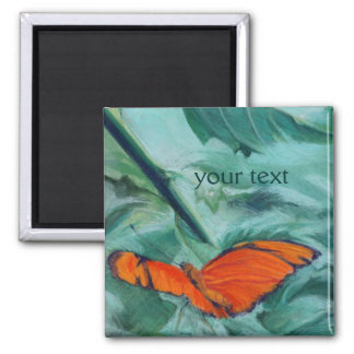 """Brazilian """"Julia"""" Butterfly Pastel Fine Art 2 Inch Square Magnet"""