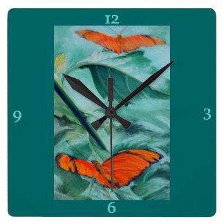 """Brazilian """"Julia"""" Butterfly Pastel Fine Art Square Wall Clock"""