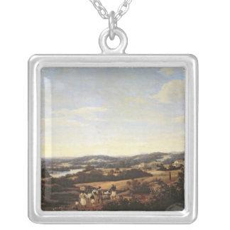 Brazilian Landscape with a Plantation Silver Plated Necklace