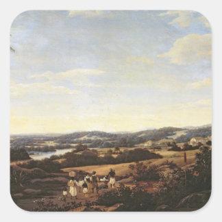 Brazilian Landscape with a Plantation Square Sticker