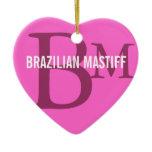 Brazilian Mastiff Monogram Design Ceramic Ornament