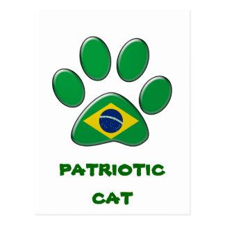 Brazilian patriotic cat postcard