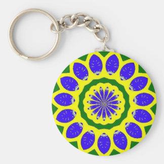 Brazilian pride basic round button keychain