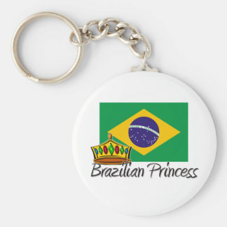 Brazilian Princess Basic Round Button Keychain