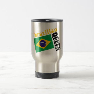 Brazilian Queen & Flag 15 Oz Stainless Steel Travel Mug