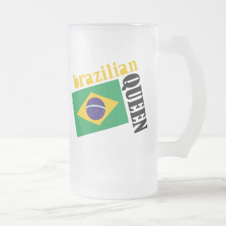 Brazilian Queen & Flag 16 Oz Frosted Glass Beer Mug