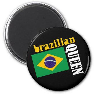 Brazilian Queen & Flag 2 Inch Round Magnet