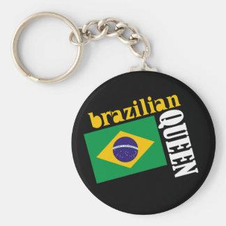 Brazilian Queen & Flag Basic Round Button Keychain