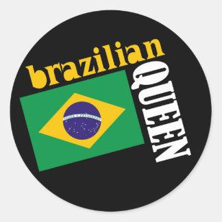 Brazilian Queen & Flag Classic Round Sticker
