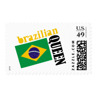 Brazilian Queen & Flag Postage Stamp
