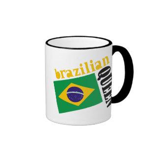 Brazilian Queen & Flag Ringer Coffee Mug