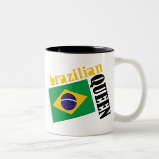 Brazilian Queen & Flag Two-Tone Coffee Mug
