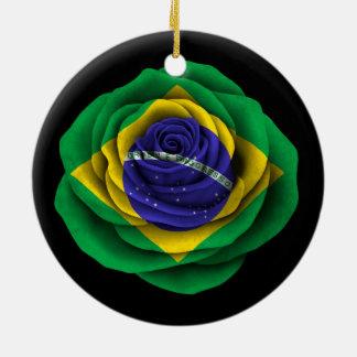 Brazilian Rose Flag on Black Ceramic Ornament